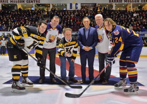 Dropped the puck on January 23 at the OHL Barrie Colts game with PCPO Leader Patrick Brown, MP Gord Brown and MP Alex Nuttall. Photo Credit: Terry Wilson