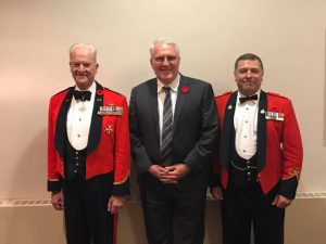 At the Grey and Simcoe Foresters annual Remembrance Day Dinner on November 10.