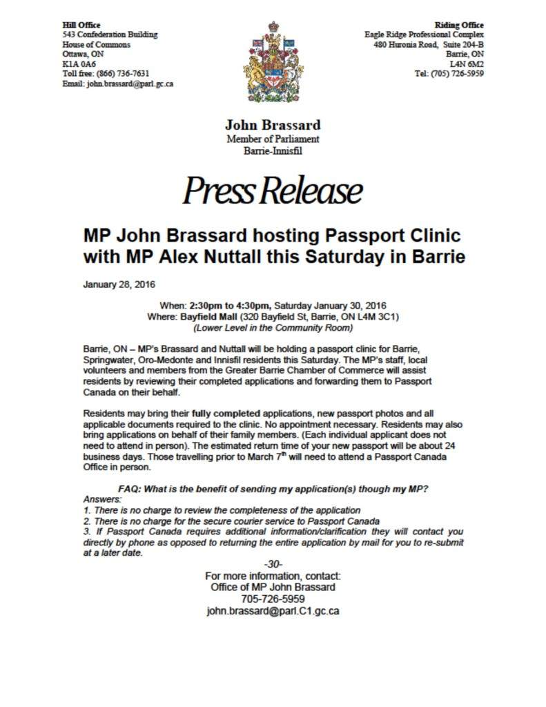 MP Brassard PRESS RELEASE Jan 28 2016 Passport Clinic