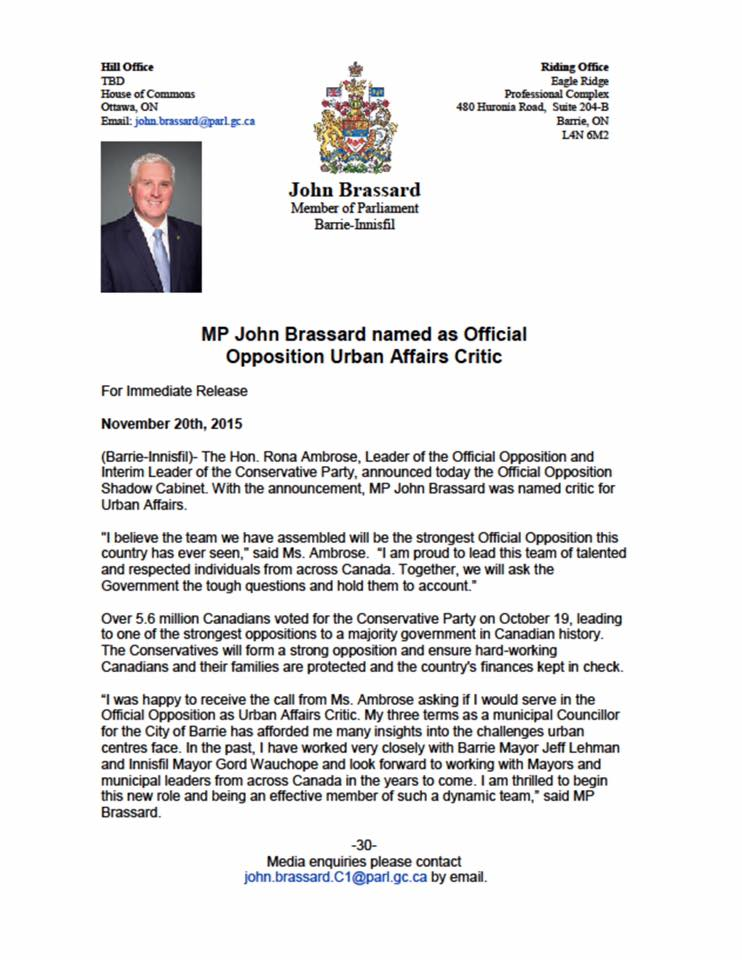 MP John Brassard Named as Official Opposition Urban Affairs Critic