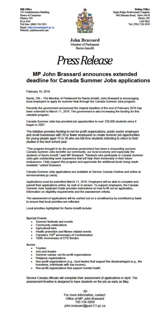 New Summer jobs announce