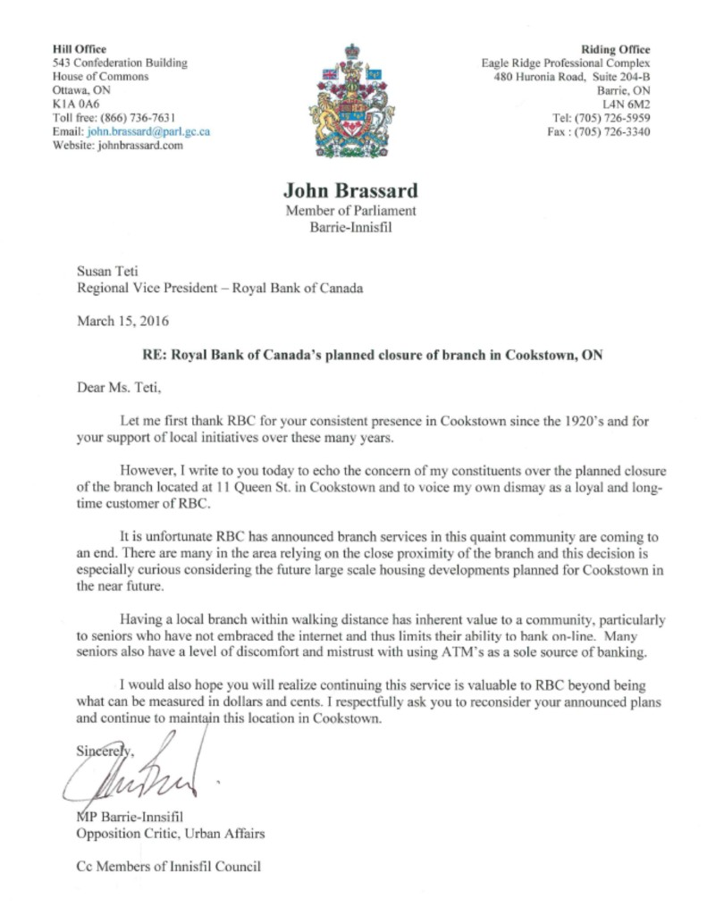 MP Brassard implores RBC to keep branch open in Cookstown