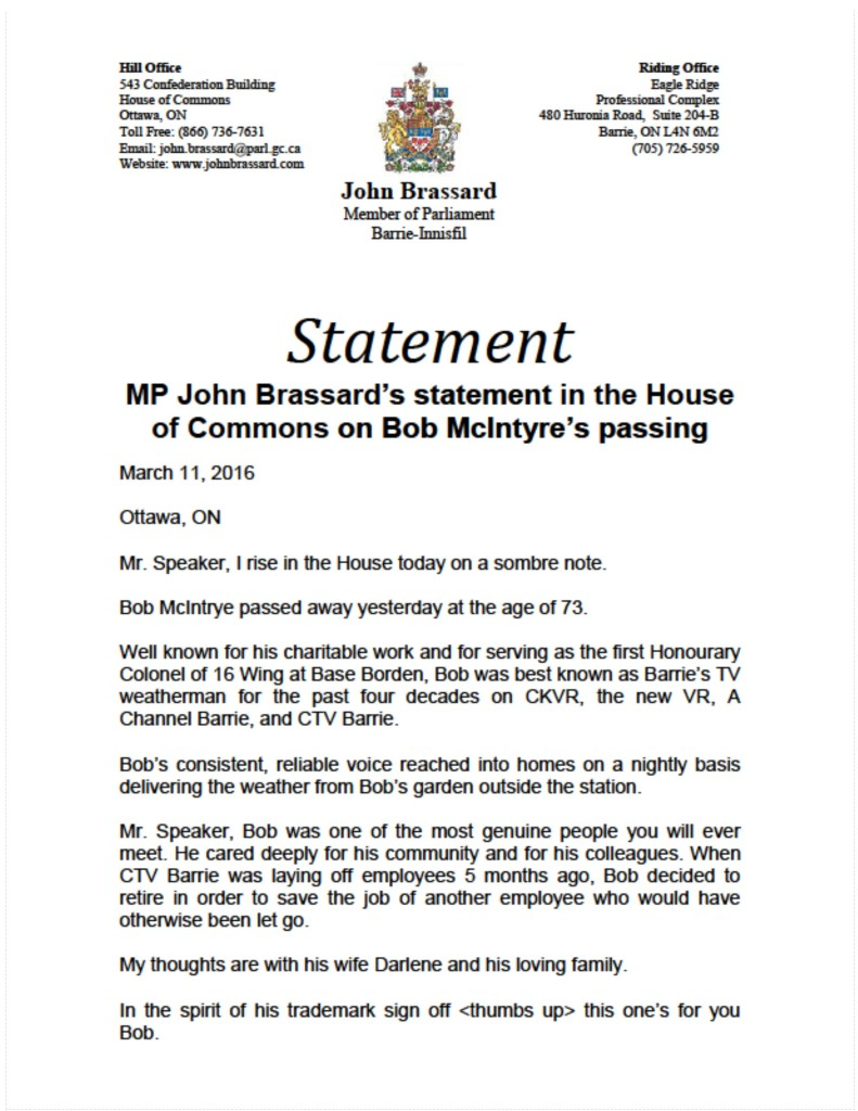 My statement on the passing of CTV's Bob McIntyre in the House of Commons today.