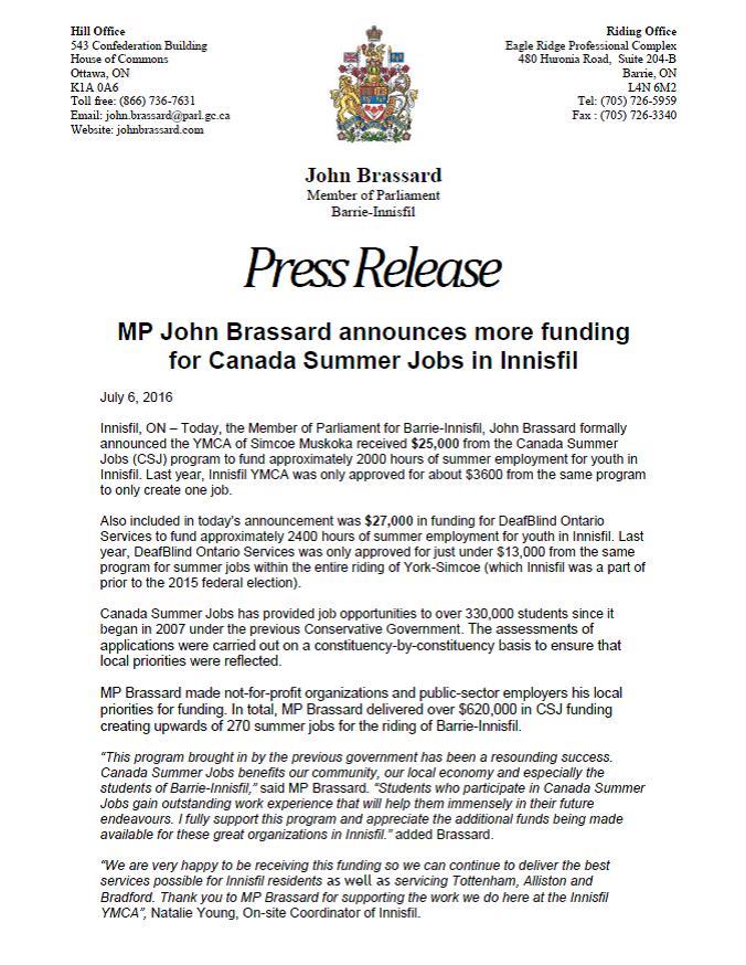 MP Brassard CSJ INNISFIL YMCA & DEAFBLIND PRESS RELEASE July 6 2016