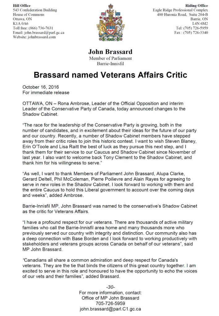 Vet Affairs Critic BRASSARD Oct 16 2016