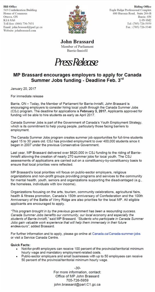 MP Brassard CSJ PRESS RELEASE January 2017